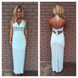 Mint Mid Crochet Halter Maxi Dress