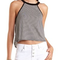 Black Combo Racer Front Striped Swing Crop Top by Charlotte Russe