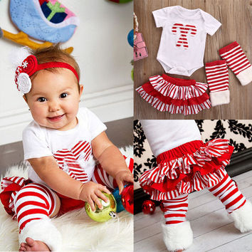 3pcs New Christmas Baby Girl Clothes Sets Casual Cane embroidered Romper And Pleated Tutu Skirts Leg Warmers Outfits Set