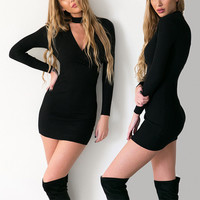 V-Neck High Waist Party Dress with Sleeves in Black or Grey