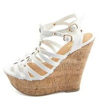 Studded Strappy Gladiator Wedge Sandals by Charlotte Russe