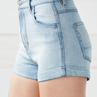 Kendall and Kylie Faded Indigo Super High Rise Cuffed Denim Shorts at PacSun.com