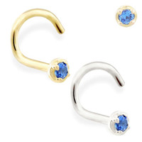 14K real gold (Nickel free) nose screw with 1.5mm Sapphire gem