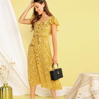 Buttoned Ditsy Floral Ruffle Trim Self Belted Long Dress Women V Neck Fit Flare Shirt Dresses