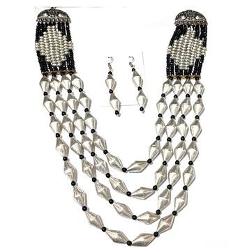 Oxidized Multi stranded dholki bead long chain necklace and hook drop earring set with crystal bead