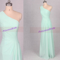 Latest long Mint chiffon bridesmaid dress hot,elegant women gowns for wedding party,affordable prom dresses with one shoulder.