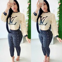 LV Louis Vuitton Newest Popular Women Casual Print Top Pants Trousers Set Two-Piece Sportswear
