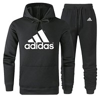 ADIDAS tide brand simple men and women sports suit two-piece Black