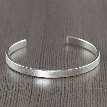 Ready To ship, Unisex Sterling men or women silver cuff bracelet satin finish bracelet