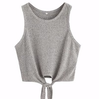 Front Tie Ribbed Crop Tank Top - Grey