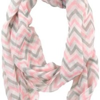 Cambridge Select Soft Chevron Sheer Infinity Scarf in Contrasting Colors,One Size,Turquoise/White