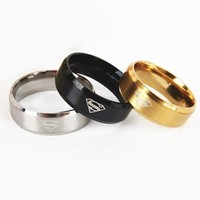Classic Superman Women Stainless Steel Ring For Men Gold Black Rings For Men Silver Rings Male Metal Jewelry Boyfriend Gift