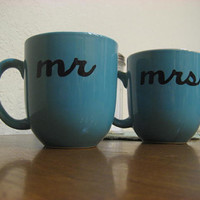 Blue Mr & Mrs Hand Painted Coffee Mugs Ready To by Dustyroadgurl