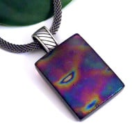Metallic Iridescent Fused Glass Pendant in Purple, Gold and Teal Green, Gunmetal Necklace