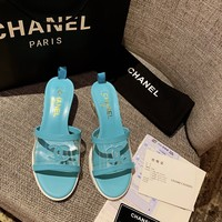 DCCK 1609 CHANNEL 19FW spring summer New candy beach slippers light blue