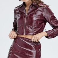Faux Leather Or Worse Wrap Mini Skirt in Burgundy