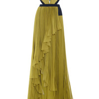 V-Neck Gown With Embroidered Tulle Insert by J. Mendel - Moda Operandi
