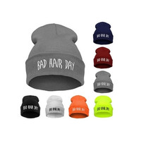 Men's Hip-hop with Letter BAD Hair DAY Beanie Knitted Cap = 1827642308