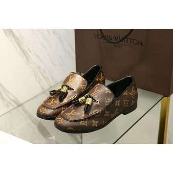 LV Louis Vuitton Slip-On Classic Trending Women Stylish Leather Shoes I-ALS-XZ