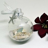 Sea glass and seashell etched beach ornament
