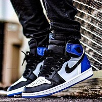 Nike Air Jordan Retro 1 Hot Sale Couple High Top Contrast Sports Shoes Sneakers White&Black&Blue