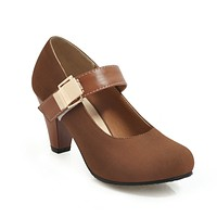 Lady Round Toe Mary Janes Mid Heeled Shoes for Women