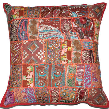 24 x 24 Throw Pillows sofa Embroidered Indian pillow Cushion Cover Throw Soft Furnishing 24X24 wholesale vintage decorative throw cushions