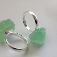 Mint Green Geode/Stone Ring by TheLunarEffect on Etsy