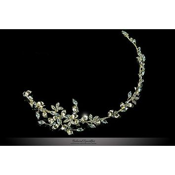 Trista Gold Leaf Hair Tie Headband | Gold | Swarovski Crystal