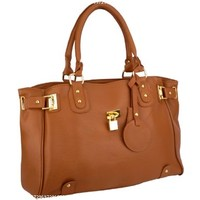 MG Collection LUCCA Brown Glamour Padlock Shopper Hobo Handbag w/Shoulder Strap:Amazon:Shoes