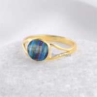 Rainbow Calsilica Round 8mm Micron Gold Plated 925 Sterling Silver Ring - Gemstone Ring - Silver Ring Gift Ring #1231