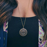 Antique Gold Medallion Pendant Necklace, Mandala Necklace, Pendant, Layering Necklace, Long Necklace