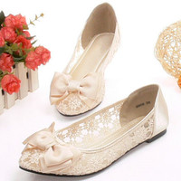 Handmade lace Wedding shoes open toe Bridal shoes Bridesmaid shoes transparent sandals flat heels Bow fish mouth lace shoes