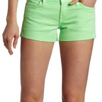 7 For All Mankind Women's Cut-Off Denim Short in Neon Lime, Neon Lime, 27
