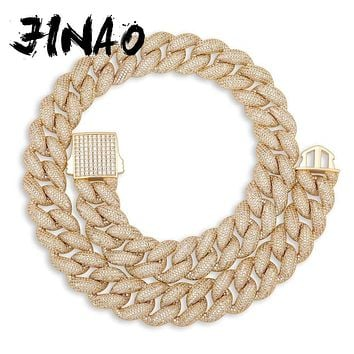 JINAO New 18mm Iced Out Micro Pave Cubic Zirconia Punk Style Necklace Hip Hop Cuban Chain Men Jewelry For Gift
