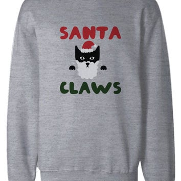 Santa Claws Funny Holiday Sweatshirts Cute Christmas Pullover Fleece Sweaters in Grey
