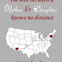 SALE Mom Daughter Map Custom Print- custom present mom, mom daughter map, gift for grandmother, grandma mothers day, mother in law gift