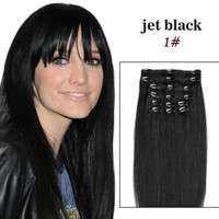 14 100 Remy Hair Clip In Extensions Jet Black by SheaBoutique