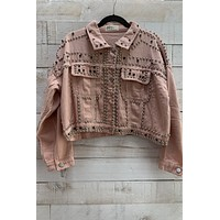 Khaki Studded Jacket- Pink