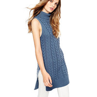 Blue Turtleneck Sleeveless Knitted Tunic Top