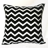 Black and White Chevron Throw Pillow, 14x14, Home and Dorm Decor - Pillow Insert Included