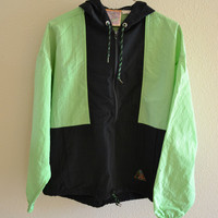 Green & Black Half Zip Hoodie Beach Windbreaker Jacket Vintage Oversized 90s XL