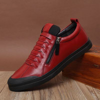 Men's Handmade Genuine Leather Casual High Top Shoes Red