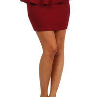 Basic Peplum Mini Skirt - Burgundy