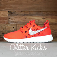 Nike Roshe One Print Customized by Glitter Kicks - Red/Black Leopard Print