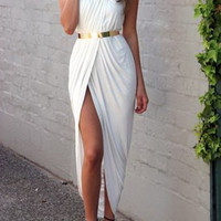 White Spaghetti Strap Midi Dress