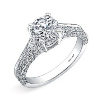 Women's Bony Levy Pave Diamond Encrusted Engagement Ring Setting - White Gold (Nordstrom Exclusive)