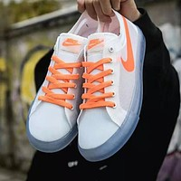 Nike Blazer Low Popular Women Men Transparent Gauze Flat Sport Shoes Sneakers White(Orange Hook)
