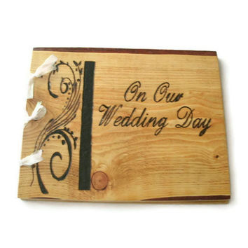 "Wood Wedding Guest Book -  Rustic Book 10""x12""  - Custom Cover Work"