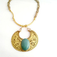 Egyptian necklace, Turquoise necklace, Half moon necklace, Gold plated necklace, Gypsy necklace, Boho necklace, Gypsy, Boho, Choker necklace
